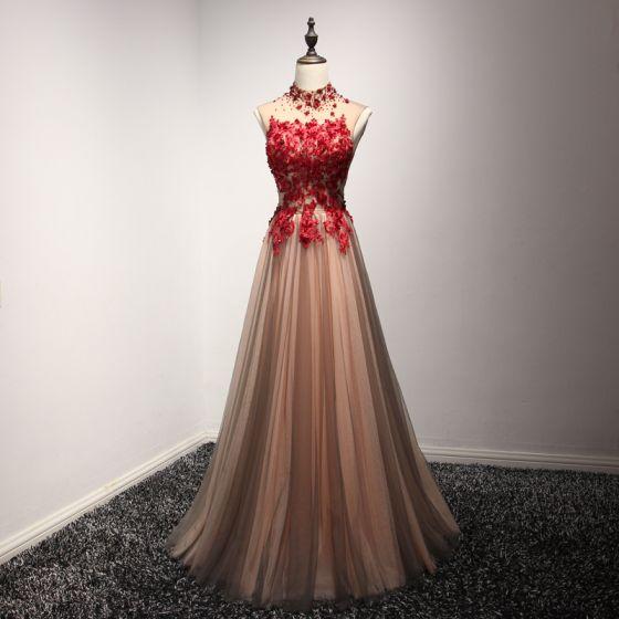 Hermoso Vestidos de noche Vestidos Formales 2017 Marrón A-Line / Princess Largos Cuello Alto Sin Mangas Sin Espalda Con Encaje Apliques Rebordear Crystal