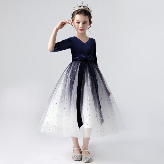 Elegantes Azul Real Degradado De Color Vestidos para niñas 2020 Ball Gown V-Cuello 1/2 Ærmer Estrella Lentejuelas Cinturón Té De Longitud Ruffle