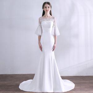 Schlicht Weiß Brautkleider 2018 Mermaid Mit Spitze Perlenstickerei Rundhalsausschnitt 1/2 Ärmel Rückenfreies Sweep / Pinsel Zug Hochzeit