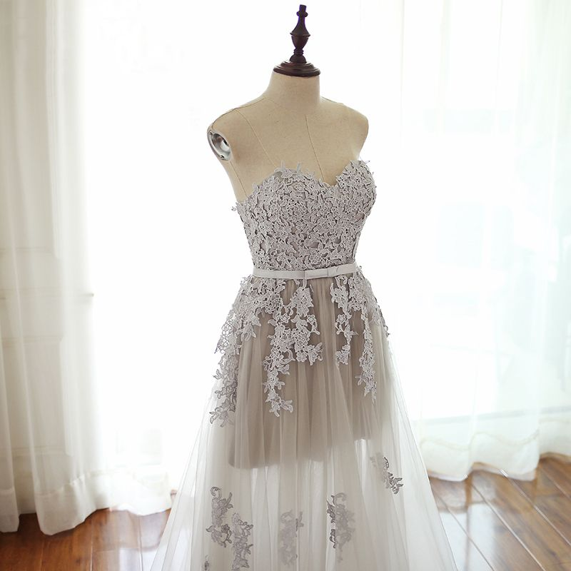 Chic / Beautiful Grey Prom Dresses 2017 Sweetheart Sleeveless Appliques Lace Backless Sash Floor-Length / Long Formal Dresses
