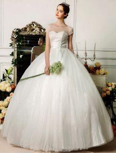 Dulcinée Encolure Dégagée Perles Manches Courtes Robe Longue Robe De Bal De Mariage