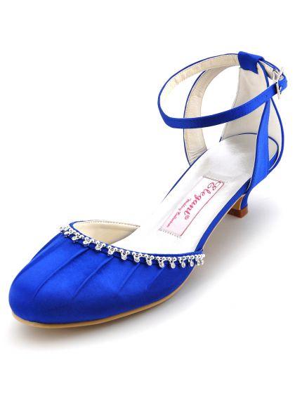 De Satin De Style Avec La Chaine De Diamant Se Plie Chaussures De Mariage