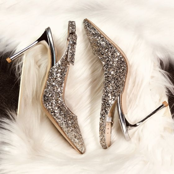 Sparkly Champagne Evening Party Womens Shoes 2019 Buckle Leather Sequins Rhinestone 9 cm Stiletto Heels Pointed Toe High Heels