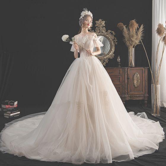 Charmig Champagne Bröllopsklänningar 2019 Prinsessa Spaghettiband Beading Paljetter Spets Blomma Korta ärm Halterneck Cathedral Train