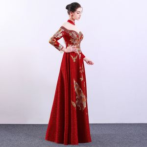Chinese style Red See-through Evening Dresses  2019 A-Line / Princess High Neck Long Sleeve Embroidered Flower Rhinestone Floor-Length / Long Formal Dresses