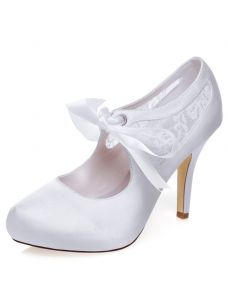 Beautiful White Bridal Pumps Stiletto Heels Lace Wedding Shoes High Heel With Bow