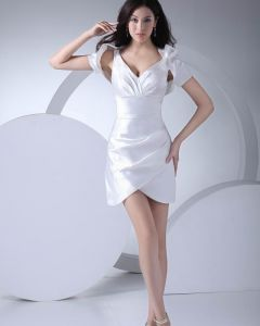 Fashion Silk like Satin Pleated V Neck Thigh Length Graduation Dress