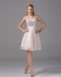 Thigh Length Square Flower Paillette Beading Tulle Satin Women Cocktail Dress