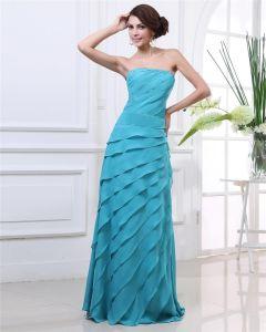 Trägerloses Rüsche-fußboden-länge Faltete Chiffon- Frauen Abendkleid
