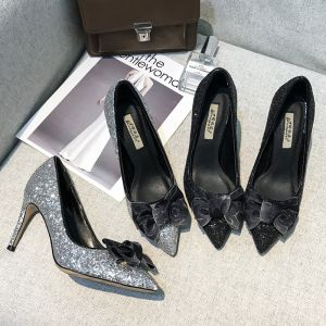 Chic / Beautiful Silver Dating Pumps 2019 Leather Bow Sequins 10 cm Stiletto Heels Pointed Toe Pumps