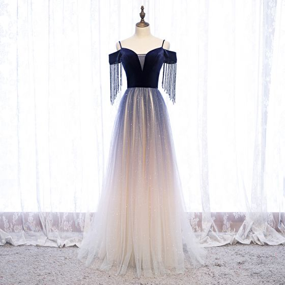 Piękne Granatowe Gradient-Kolorów Taniec Sukienki Na Bal 2020 Princessa Spaghetti Pasy Kótkie Rękawy Frezowanie Kutas Cekinami Tiulowe Długie Bez Pleców Sukienki Wizytowe