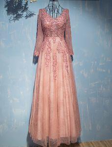Glamouröse Abendkleider 2017 V-ausschnitt Applique Spitze Mit Pailletten Perle Rosa Spitze Tüll Langes Kleid