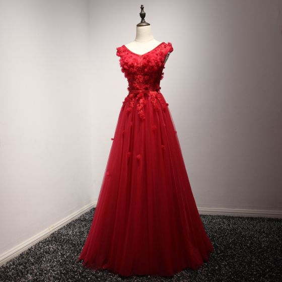 Modern / Fashion Red Evening Dresses  2017 A-Line / Princess Floor-Length / Long Cascading Ruffles V-Neck Sleeveless Backless Pearl Beading Lace Appliques Flower Bow Sash Formal Dresses