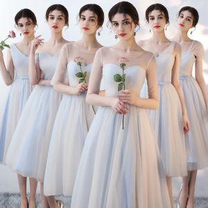 Abordable Bleu Ciel Robe Demoiselle D'honneur 2018 Princesse Noeud Ceinture Thé Longueur Volants Dos Nu Robe Pour Mariage