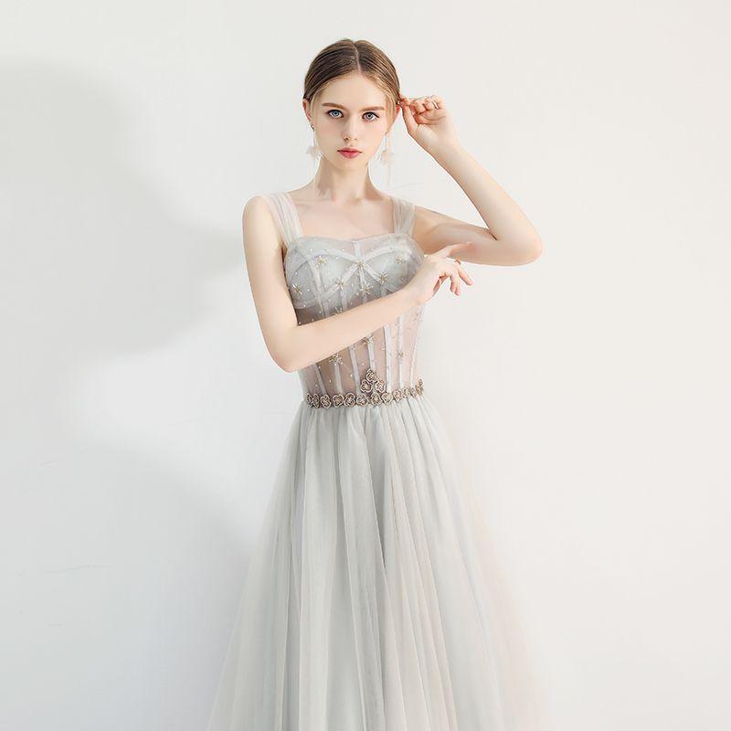 Chic / Beautiful Grey Prom Dresses 2019 A-Line / Princess Square Neckline Beading Rhinestone Sleeveless Backless Floor-Length / Long Formal Dresses
