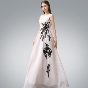 Schöne Abendkleider 2017 Rosa A Linie Lange Rundhalsausschnitt Ärmellos Rückenfreies Applikationen Blumen Festliche Kleider