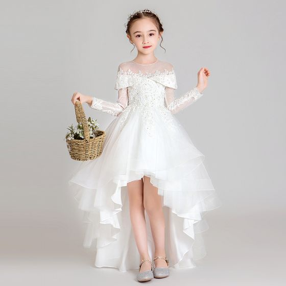 Elegant White See-through Flower Girl Dresses 2020 Ball Gown Scoop Neck Long Sleeve Appliques Lace Beading Asymmetrical Ruffle