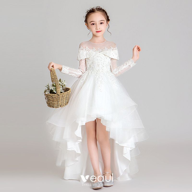 Elegant White See Through Flower Girl Dresses 2020 Ball Gown Scoop Neck Long Sleeve Appliques Lace Beading Asymmetrical Ruffle