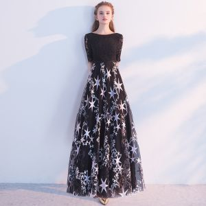 Chic / Beautiful Black Evening Dresses  2018 A-Line / Princess Scoop Neck Short Sleeve Star Sash Floor-Length / Long Ruffle Backless Formal Dresses