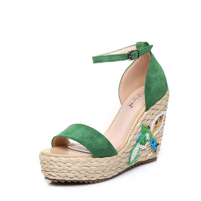 Chic / Beautiful Outdoor / Garden Womens Sandals 2017 PU Braid Sequins High Heel Open / Peep Toe Sandals