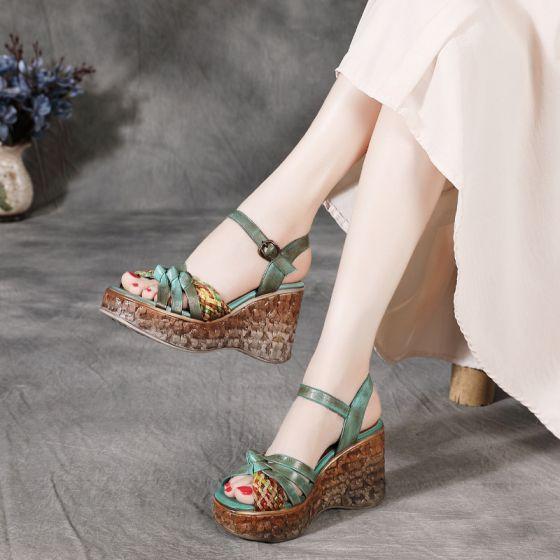 Vintage / Originale Traditionnel Été Vert Vêtement de rue Sandales Femme 2020 Cuir 8 cm Compensées Peep Toes / Bout Ouvert Sandales
