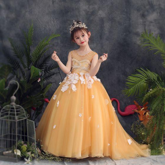 e6955b9c8e25 Lovely Gold Flower Girl Dresses 2019 A-Line / Princess Scoop Neck Sleeveless  Appliques Flower Pearl Rhinestone ...
