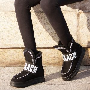 Mode Schneestiefel 2017 Schwarz Leder Ankle Boots Wildleder Freizeit Winter Flache Stiefel Damen