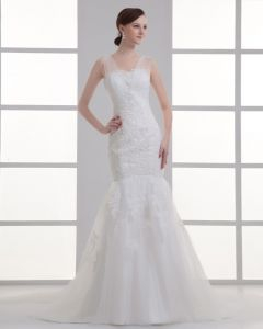 Tulle Applique Beading V Neck Court Train Mermaid Wedding Dress