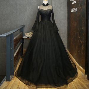 Elegant Black See-through Prom Dresses 2019 A-Line / Princess High Neck Bell sleeves Beading Rhinestone Floor-Length / Long Ruffle Formal Dresses