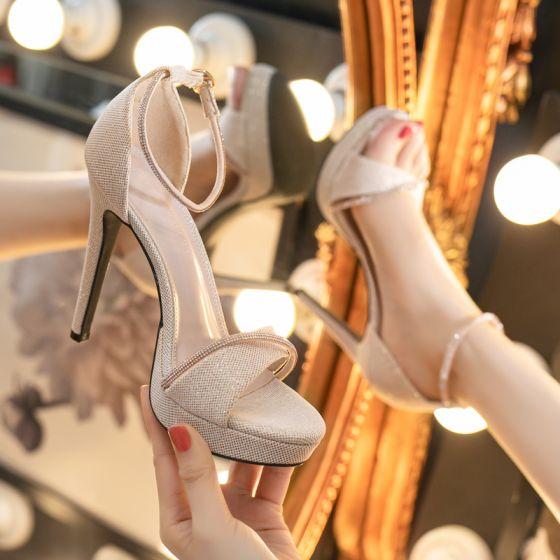 Sexy Black Evening Party Womens Sandals 2021 Rhinestone Ankle Strap 11 cm Stiletto Heels Open / Peep Toe Sandals High Heels
