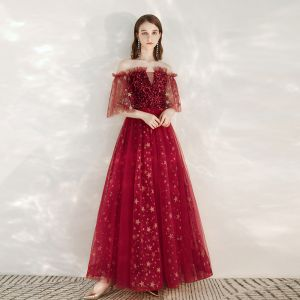 Fashion Red Evening Dresses  2020 A-Line / Princess Off-The-Shoulder 1/2 Sleeves Glitter Star Sequins Floor-Length / Long Ruffle Backless Formal Dresses