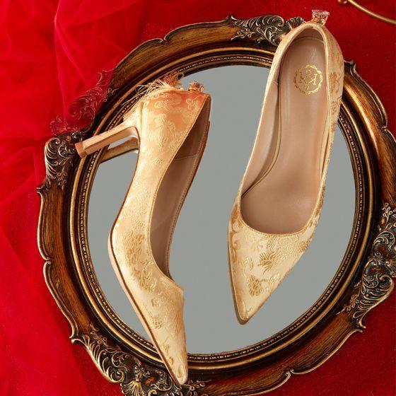 Mode Guld Brudskor 2020 Broderade 7 cm Stilettklackar Spetsiga Bröllop Pumps