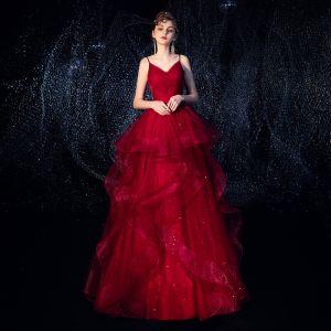 Uroczy Burgund Sukienki Wieczorowe 2019 Princessa Spaghetti Pasy Bez Rękawów Cekinami Tiulowe Długie Kaskadowe Falbany Bez Pleców Sukienki Wizytowe