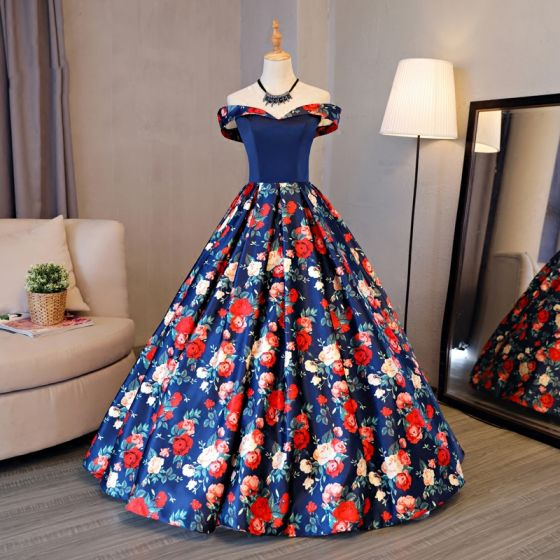 Chic / Beautiful Red Prom Dresses 2017 A-Line / Princess Strapless Appliques Backless Printing Evening Party Formal Dresses