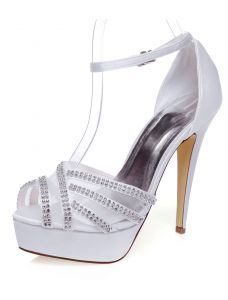 Chic White Wedding Sandals With Ankle Strap Stiletto Heels Bridal Shoes High Heels With Rhinestone