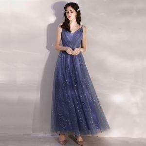 Affordable Ocean Blue Evening Dresses  2020 A-Line / Princess Spaghetti Straps Sleeveless Glitter Tulle Beading Sash Ankle Length Ruffle Backless Formal Dresses