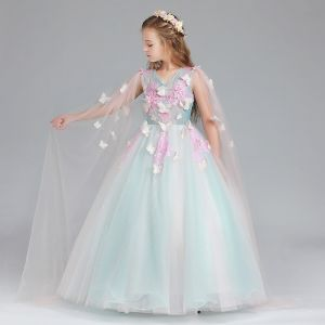 Chic / Beautiful Pool Blue Candy Pink Flower Girl Dresses 2017 Ball Gown V-Neck Sleeveless Appliques Butterfly Sequins Floor-Length / Long Ruffle Wedding Party Dresses