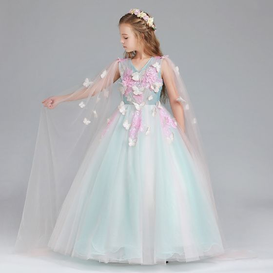 Chic Beautiful Pool Blue Candy Pink Flower Girl Dresses 2017 Ball