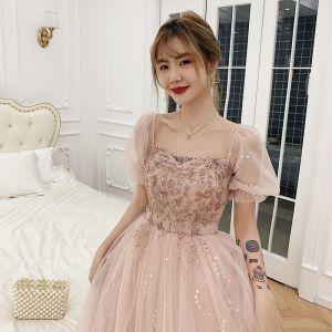 Viktoriansk Stil Rødmende Rosa Dancing Ballkjoler 2021 Prinsesse Firkantet Hals Puffy Korte Ermer Beading Paljetter Lange Buste Ryggløse Formelle Kjoler