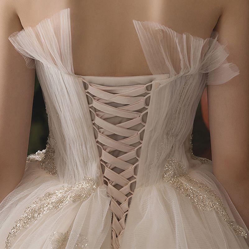 Chic / Beautiful Champagne Wedding Dresses 2019 A-Line / Princess Amazing / Unique Sweetheart Sleeveless Backless Beading Chapel Train Ruffle
