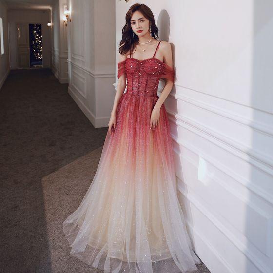Elegant Rød Gradient-Farge Selskapskjoler 2020 Prinsesse Spaghettistropper Korte Ermer Glitter Tyll Paljetter Lange Buste Ryggløse Formelle Kjoler