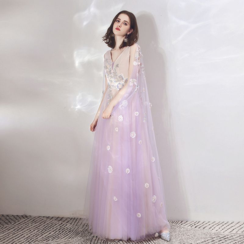 Two Tone Lavender Champagne Evening Dresses  With Shawl 2019 A-Line / Princess V-Neck Sleeveless Appliques Flower Beading Floor-Length / Long Ruffle Backless Formal Dresses