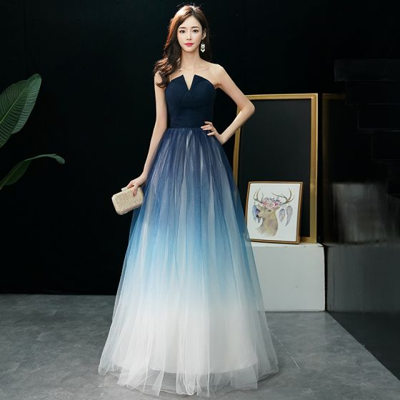 Modern / Fashion Navy Blue Gradient-Color Ivory Prom Dresses 2019 A-Line / Princess Strapless Sleeveless Floor-Length / Long Ruffle Backless Formal Dresses