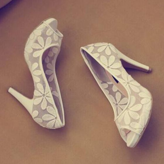 Chic / Beautiful White Wedding Shoes 2018 See-through Lace Flower 10 cm Stiletto Heels Open / Peep Toe Wedding Pumps