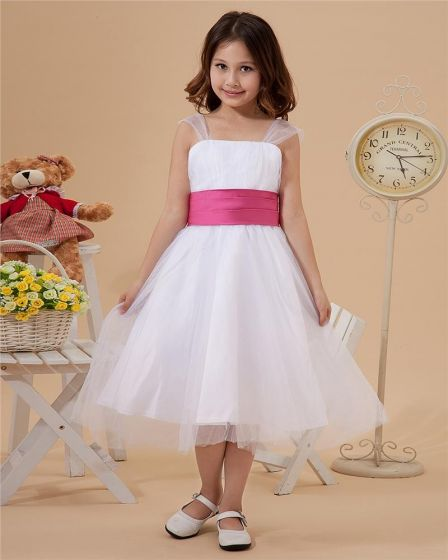 Organza Sash Layered Shoulder Straps Knee Length Flower Girl Dresses