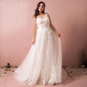 Unique Weiß Brautkleider 2017 A Linie V-Ausschnitt Tülle Perlenstickerei Applikationen Rückenfreies Hochzeit