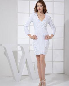 Manches Col V Cuisse Longueur Plis Spandex Robe De Cocktail Longue Femme