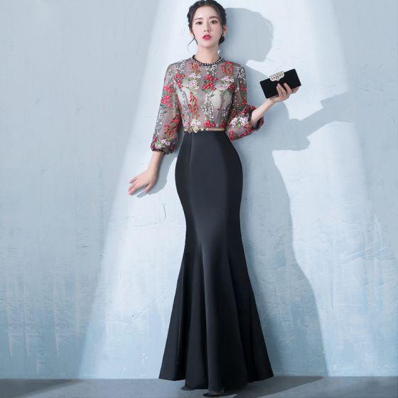 Moderne / Mode Noire Longue Robe De Soirée 2018 Trompette / Sirène Col Haut Tulle Brodé Appliques Dos Nu Perlage Soirée Robe De Ceremonie