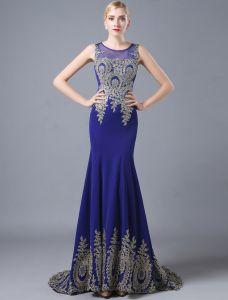 Mode Meerjungfrau Abendkleider 2016 Mit Rundhalsausschnitt Applique Glitter Spitze Königsblau Satin Langen Kleid