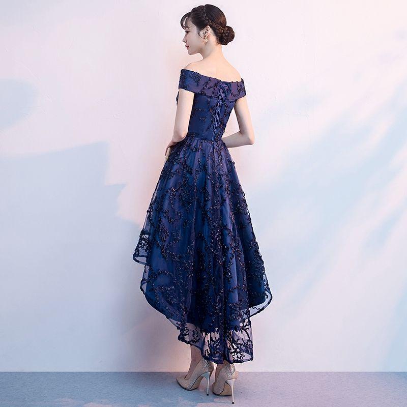 Chic / Belle Bleu Marine Robe De Cocktail 2018 Princesse De l'épaule Manches Courtes Appliques En Dentelle Asymétrique Volants Dos Nu Robe De Ceremonie